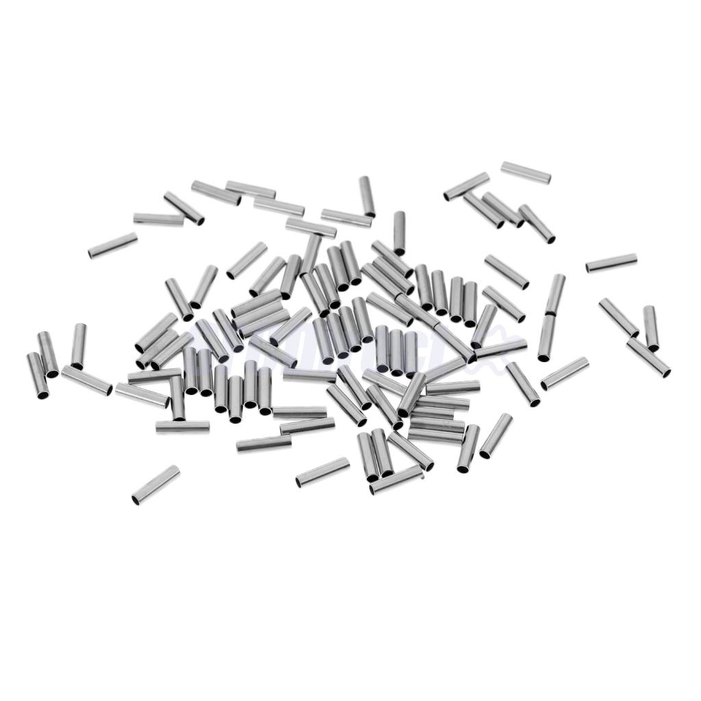 100 Plieces Single Barrel Crimping Sleeves Fishing Wire Leader Crimps 100 Copper Tube Connector