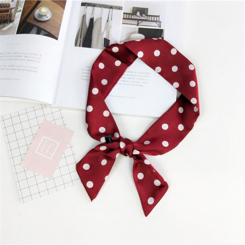 Бордовый в милый горошек небольшой шейный платок мода шарф Для женщин платки повязка на  ...