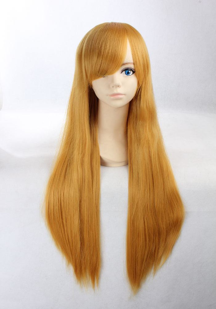 Quality Thick Long Straight Gold Yellow Synthetic Hair