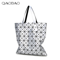 QIAOBAO New Matte drawing Women Laser Sac Bags Diamond Lattice Tote 8*8 Geometry Quilted Shoulder Crossbody Bag Folded Handbags