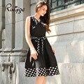 2017 RUIYIGE Новое Прибытие Женщины Vintage Плюс Размер Dot Элегантный Формальное Офис для Торжеств и Вечеринок Сексуальная Vestitos Elbise Summer Dress