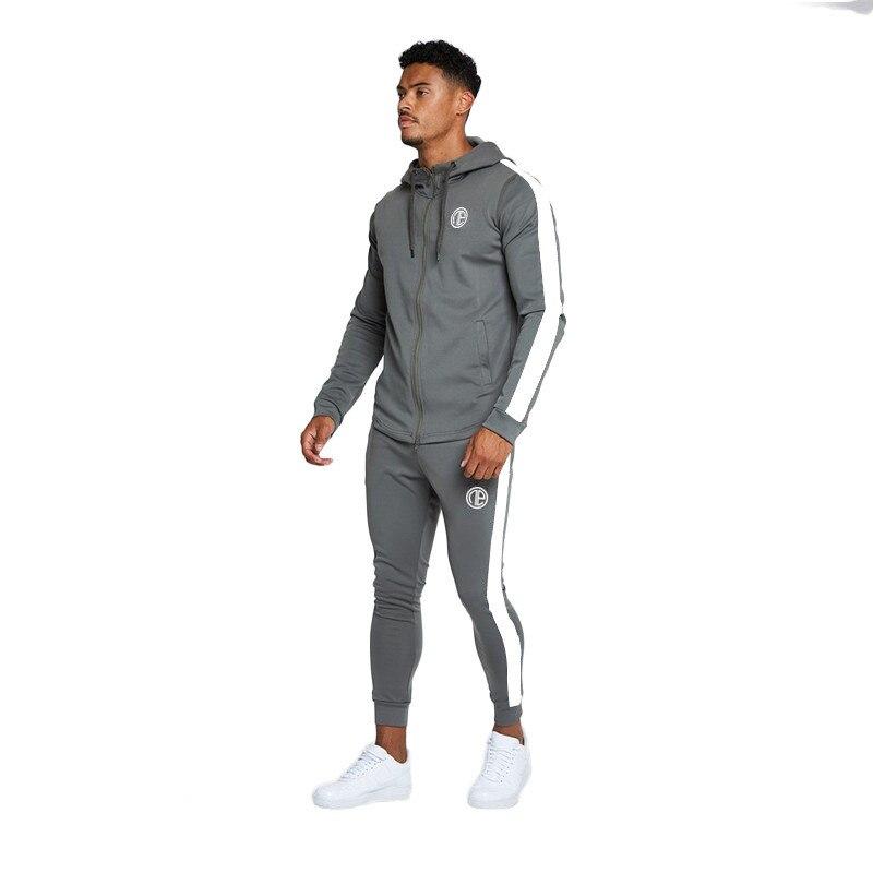 YEMEKE Fashion Men Set Long Sleeve Fitness Hoodies+Pants Set Male Tracksuit Outdoors Suit Men's Gyms Set Casual Sportswear Suit