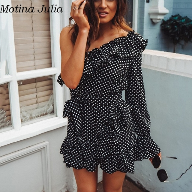 0e06e326e1e931 Motina Julia Sexy rüsche polka dot kleid frauen Eine schulter bogen  elegante party Sommer casual täglichen kurzen vestidos