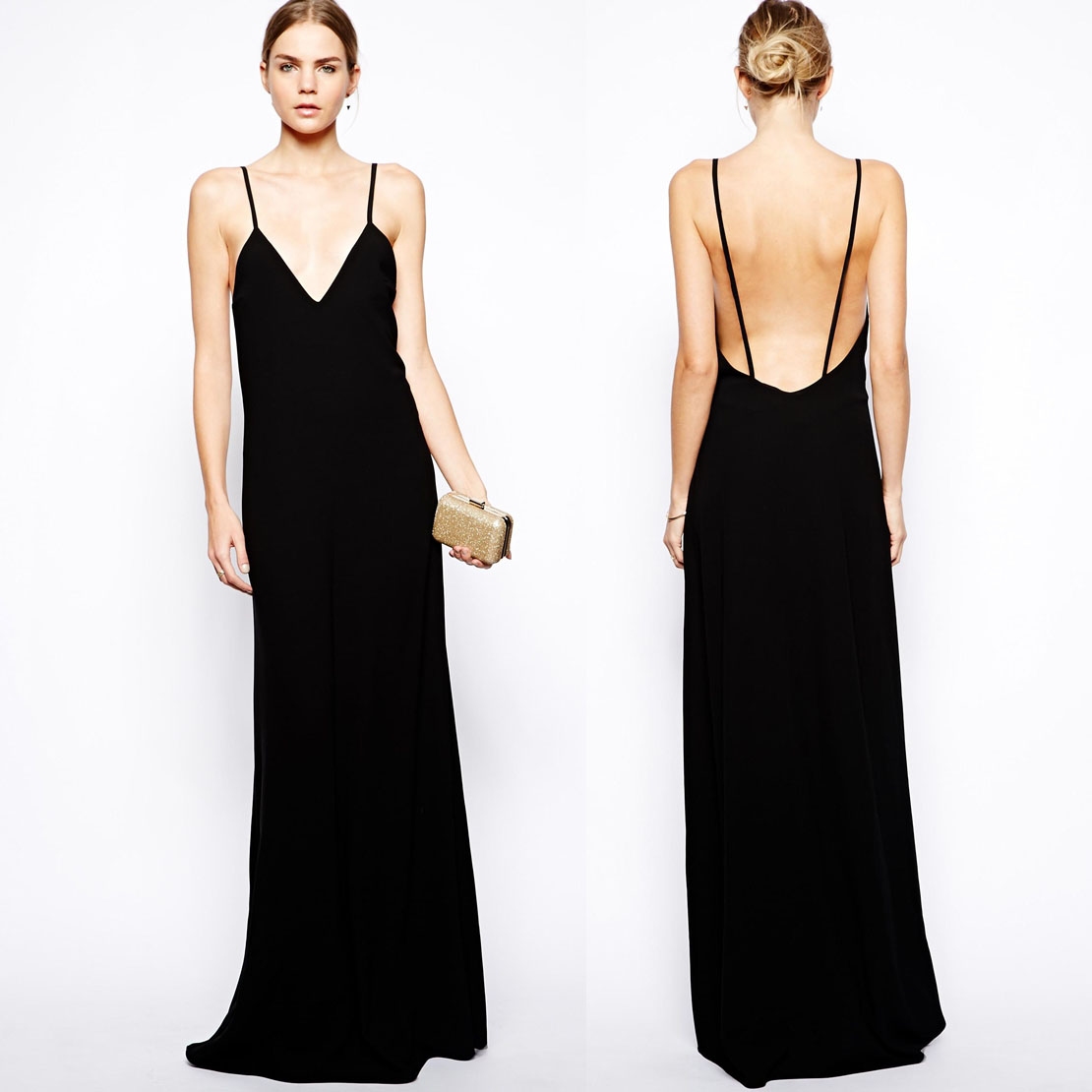 Collection Black Maxi Dress Low Back Pictures - Reikian