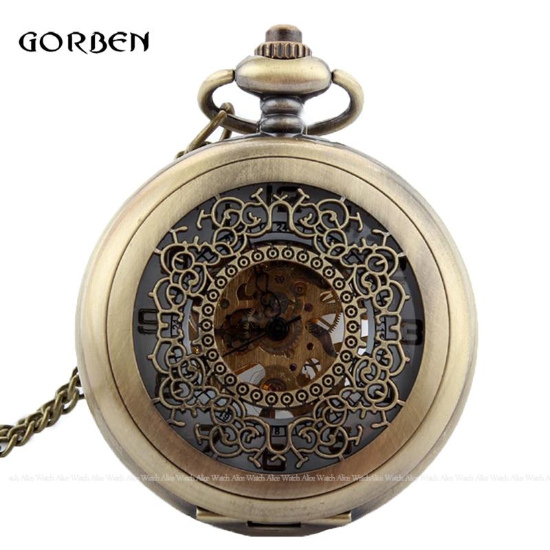 Mechanical Pocket Watch Classic Skeleton Vintage Bronze Pocket Fob Watches Full Hunter Hollow Hand Wind Men Relogio De Bolso New