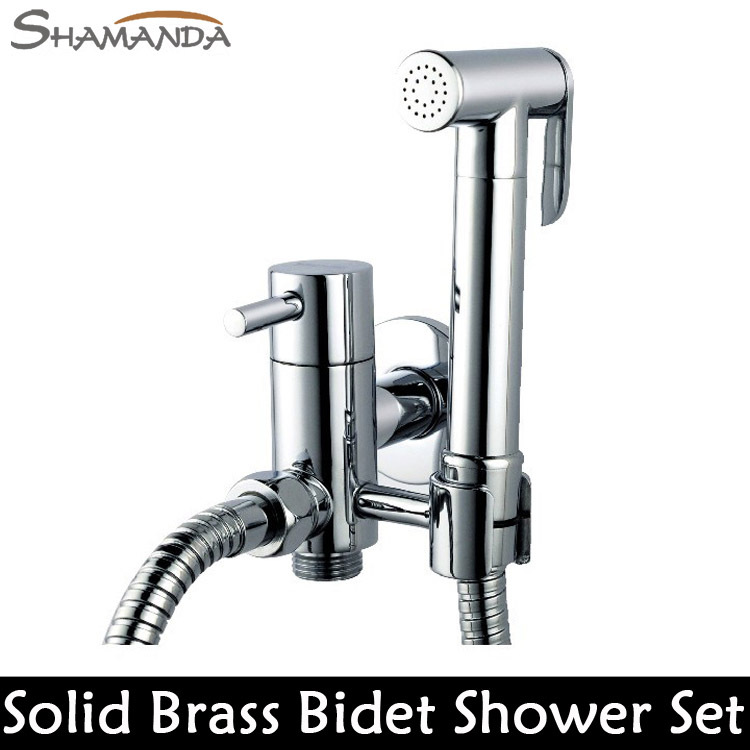 ФОТО Free Shipping Solid Brass Chrome Handheld Bidet ,Toilet Portable Bidet Shower Set With Brass Bidet Faucet and 1.5m Hose-22650