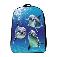 Hot Sale 12 Inches Oxford Printing Animal Dolphin Kindergarten Backpack,Kids Baby School Bags,Infantile Schoolbag,Small Bookbag(China)