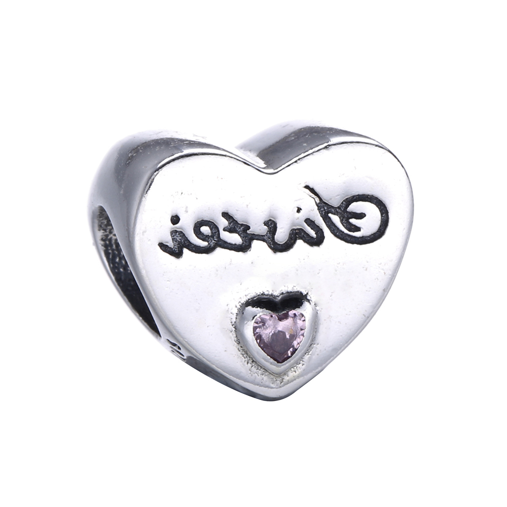 Fits Pandora Charms Bracelet 925 Sterling Silver Jewelry Sisters Love Heart  Charm Beads For Women Diy