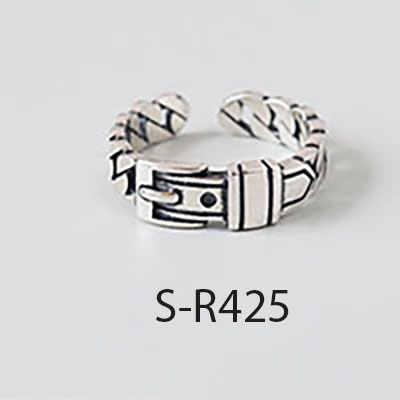 ANENJERY Multi-สไตล์ VINTAGE 925 แหวนเงินแท้ Handmade ขนาด 18 มม.เงินไทยแหวนสำหรับผู้ชายผู้หญิง S-R414