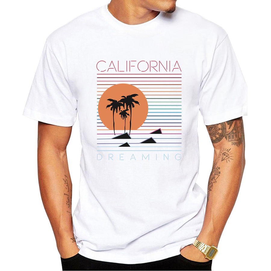 Image 2 - Vintage California Beach Scenery Printing Men T Shirt Short Sleeve Casual Tee Shirts Hipster Cool Tops Retro T Shirt O207-in T-Shirts from Men's Clothing