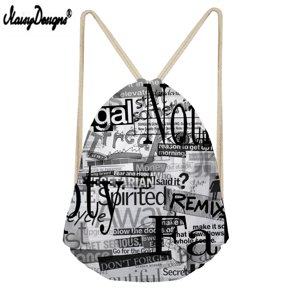 Kid Drawstring Bag Famous Brand 3D Newspaper Printing Custom Portable Beam Pocket Men's Shoes Bag Ladies Travel Bag Quality Life