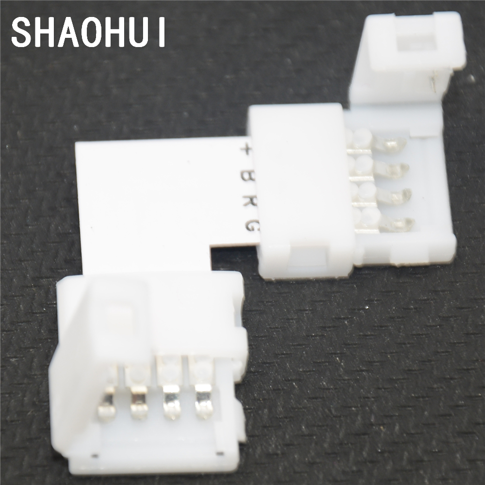 10pcs Lot L Shape10mm 4 Pin Quick Splitter Right Angle Corner No Biscuit Jack Wiring Soldering Rgb Connector Adapter For 5050 Led Strip Light