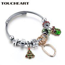 Toucheart Рождественские Браслеты из нержавеющей стали браслеты