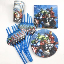 50pcs/set Avenger Theme Party Supplies Tableware Plate Cup Napkin straw Birtday Favors Baby Shower Favor Decoration