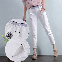 Women Elastic Waist White Jeans 2017 Summer New Ladies Print Ankle Length Pencil Pants Trousers L686