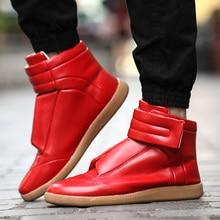 Новинка 2017 года высокие Zapatillas Hombre Hook & Loop Туфли без каблуков Повседневная обувь; сапоги ботильоны Для мужчин кроссовки красные, черные Цвет Мужская обувь
