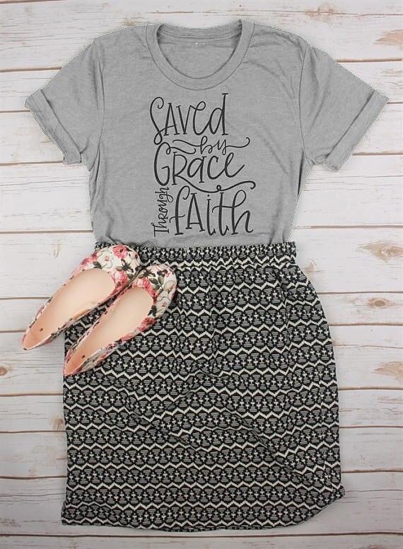 Salvado por gracia por la fe cristiana camisa camiseta cristiana de Jesús camiseta cristiana camisetas fe tees algodón tops