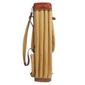 Image 2 - Tourbon vintage golf club saco portador lápis estilo lona & couro sacos de arma golfe com bolsos clubes viagem domingo sacos cobrir 90cm