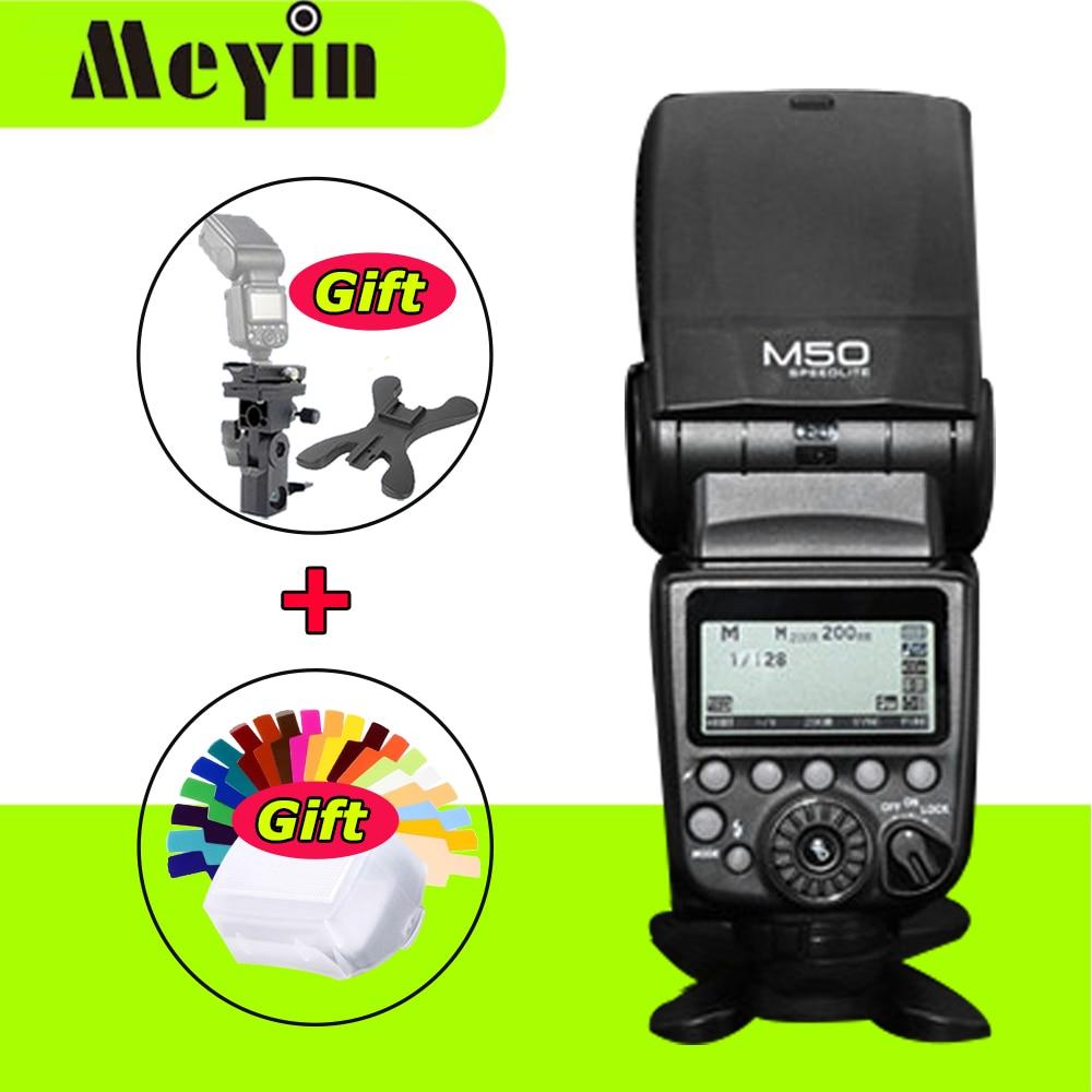 Meyin M50 Wireless GN60 TTL HSS Flash Speedlite For Canon DSLR Camera As Yongnuo YN568EX II YN565EX II Pixel Mago Triopo Meike yongnuo yn568ex ii wireless 4 channel ttl hss flash speedlite 1 8000s for canon e ttl e ttl ii camera yn568ex for nikon d7100