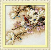 도매 아름다운 목련 꽃 DMC 크로스 스티치 키트 공예 정확한 인쇄 자수 DIY 수제 바늘 작업 홈 장식