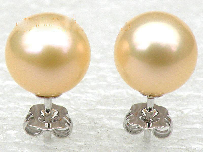 Natural AAA++ 8-9mm perfect round golden pink akoya stud pearl earring 14K white paradise lost paradise lost medusa