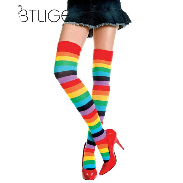 BTLIGE Women Stockings Cute Cotton Thigh High Mixed Colored Rainbow Striped Long Stockings Knitted Ladies Over The Knee Socks