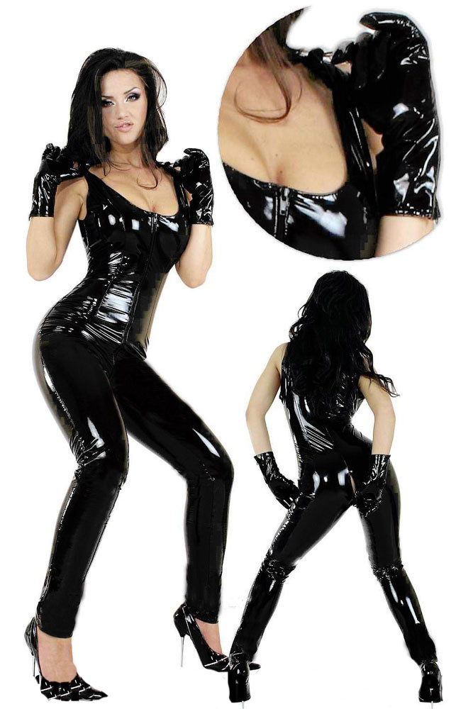Vocole Black Latex PVC Zipper Bodysuit Cat Women Faux Leather Catsuit Erotic Wet Look Bodycon Fetish Sexy Club Jumpsuit Costume