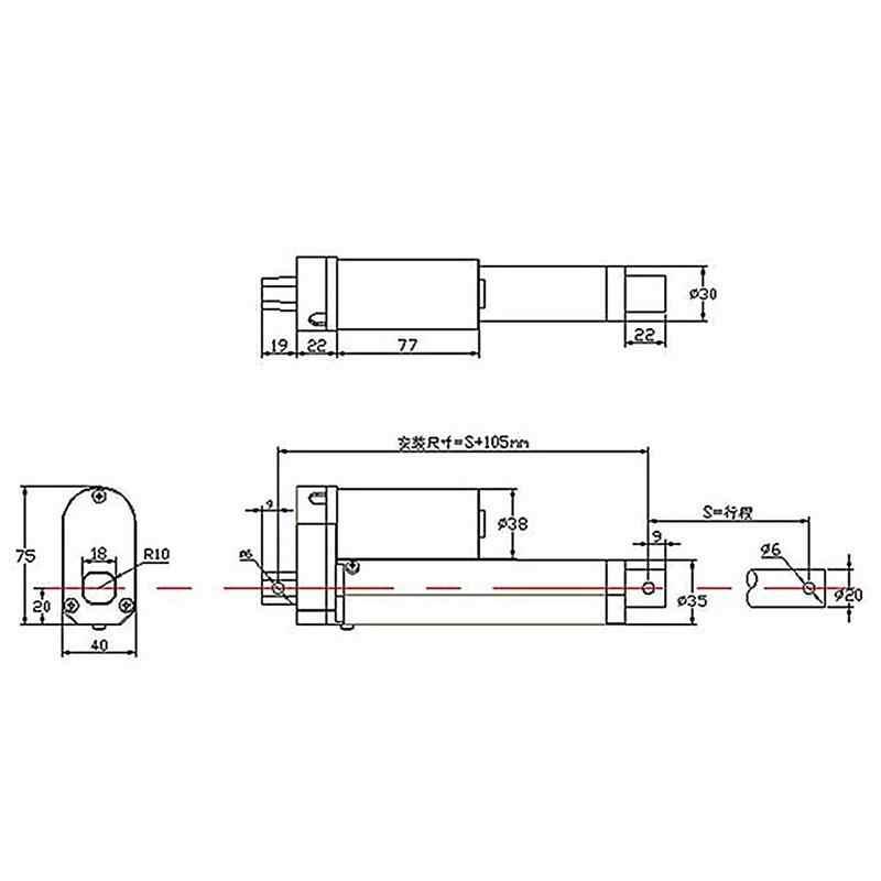 1 unidad de Motor de actuador lineal de 12V CC 200mm de carrera 750N carga mini servomotor eléctrico movimiento de Motor Tubular lineal