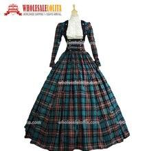 Top Sale Plaid Long Victorian Civil War 3 pc Tartan Period Dress Southern Belle Gown Reenactment