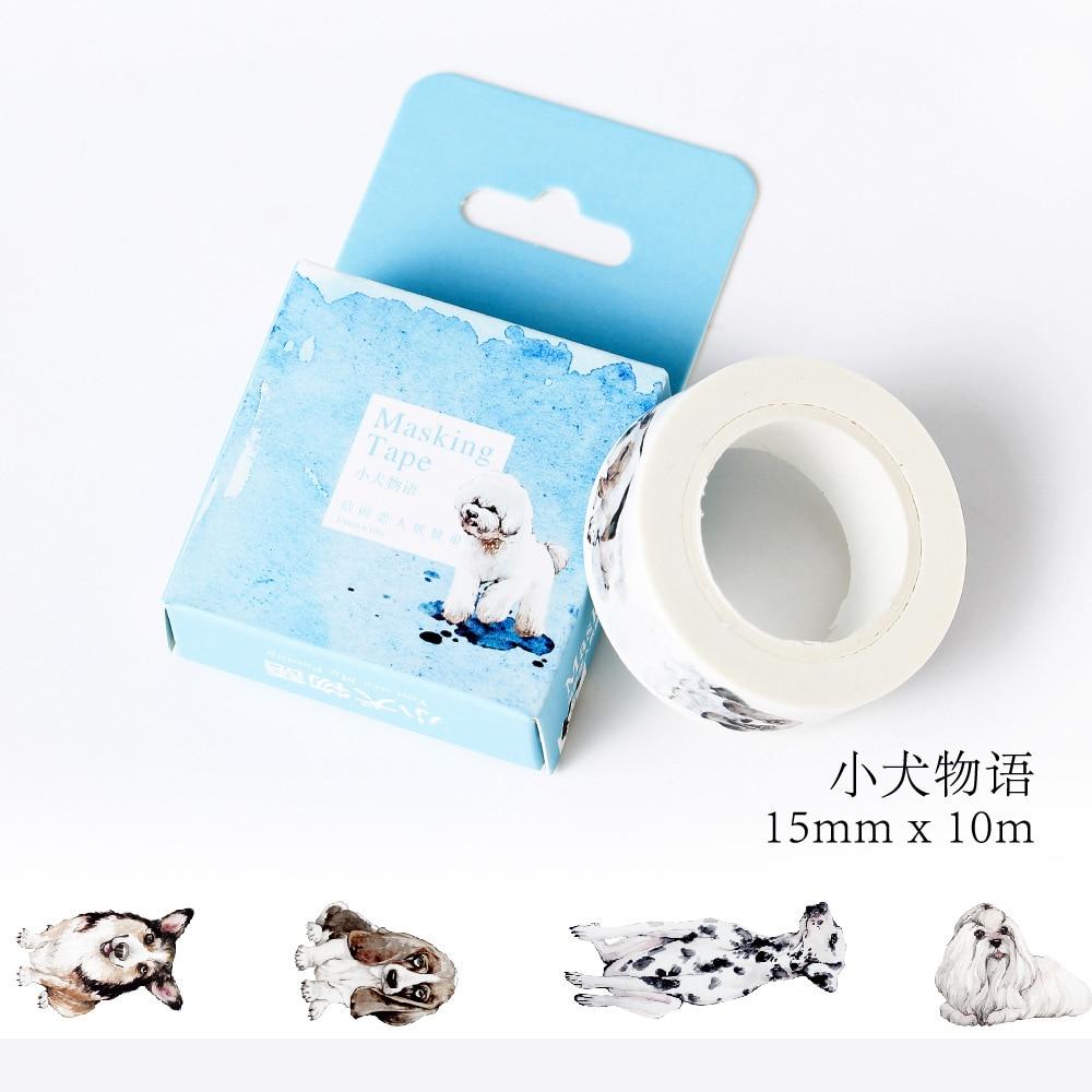 1 pcs Size 15mm*10m DIY Cartoon Dog animals paper washi tapes/decorative Adhesive Tape/masking tape/ Stickers/School Supplies