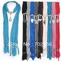Colar de pingente de mulheres cachecol quente lenços macios jóias Mix # 2893