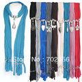 HOT Scarf jewelry Pendant necklace Fashion womens Soft scarves Jewellery Mix design 20pcs/lot #2893
