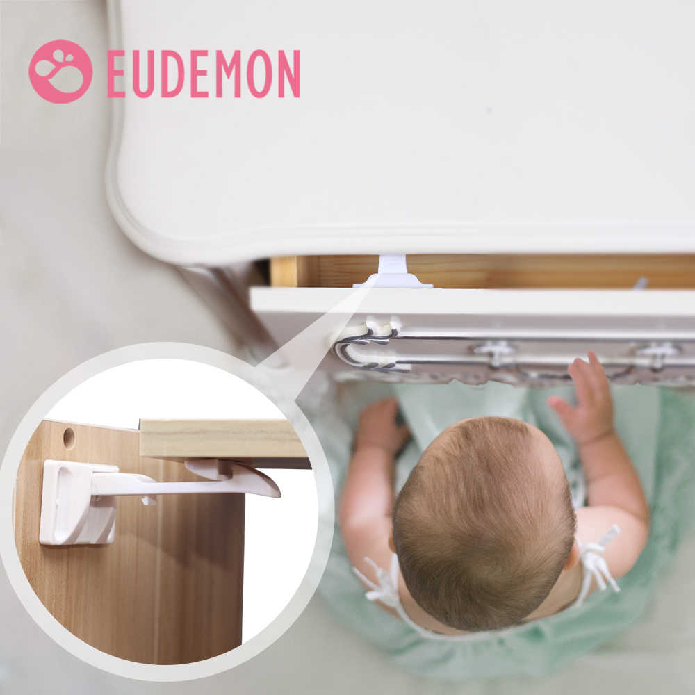 EUDEMON 2pcs Baby Security Cabinet Door Lock For Kids Safety Children Protection Drawer Blocker Toddler Invisible Closet Locker