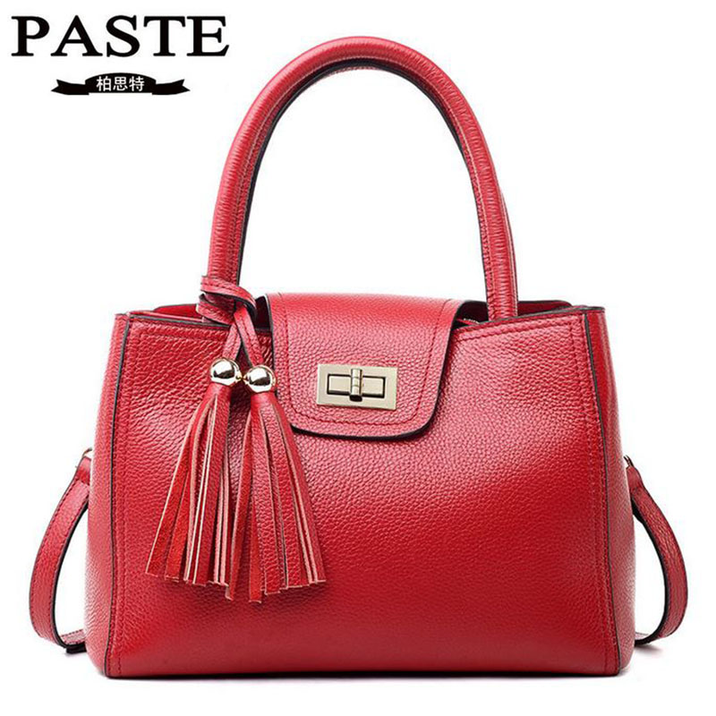 PASTE 2016 Hot Genuine Leather Handbag Men Bags Fashion Tassel Cow Leather Messenger Bag European Style Brand Lady Shoulder Bags the power of benefits selling