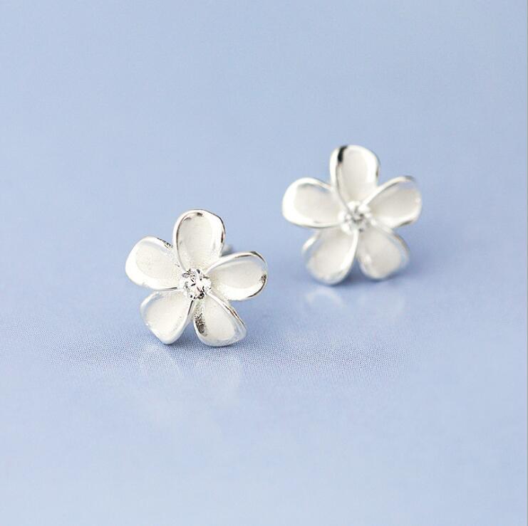 Smjel جديد أزياء فضية اللون زهرة أقراط - مجوهرات الأزياء