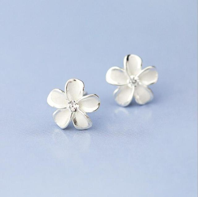 white ebay swarovski stud i link crystal silver gold diamontic earring flower gf bridal