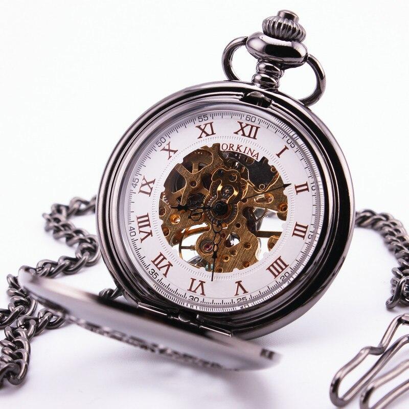Orkina Luxury Retro Pocket Watch Roman White Dial Sub Dial Hollowed out Silver Case Quartz Pendant