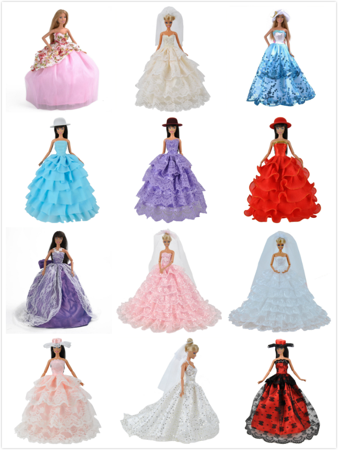 E-TING 9 Style Handmade Dolls Clothes Princess Wedding Party Dress For Barbie Dolls S man ting