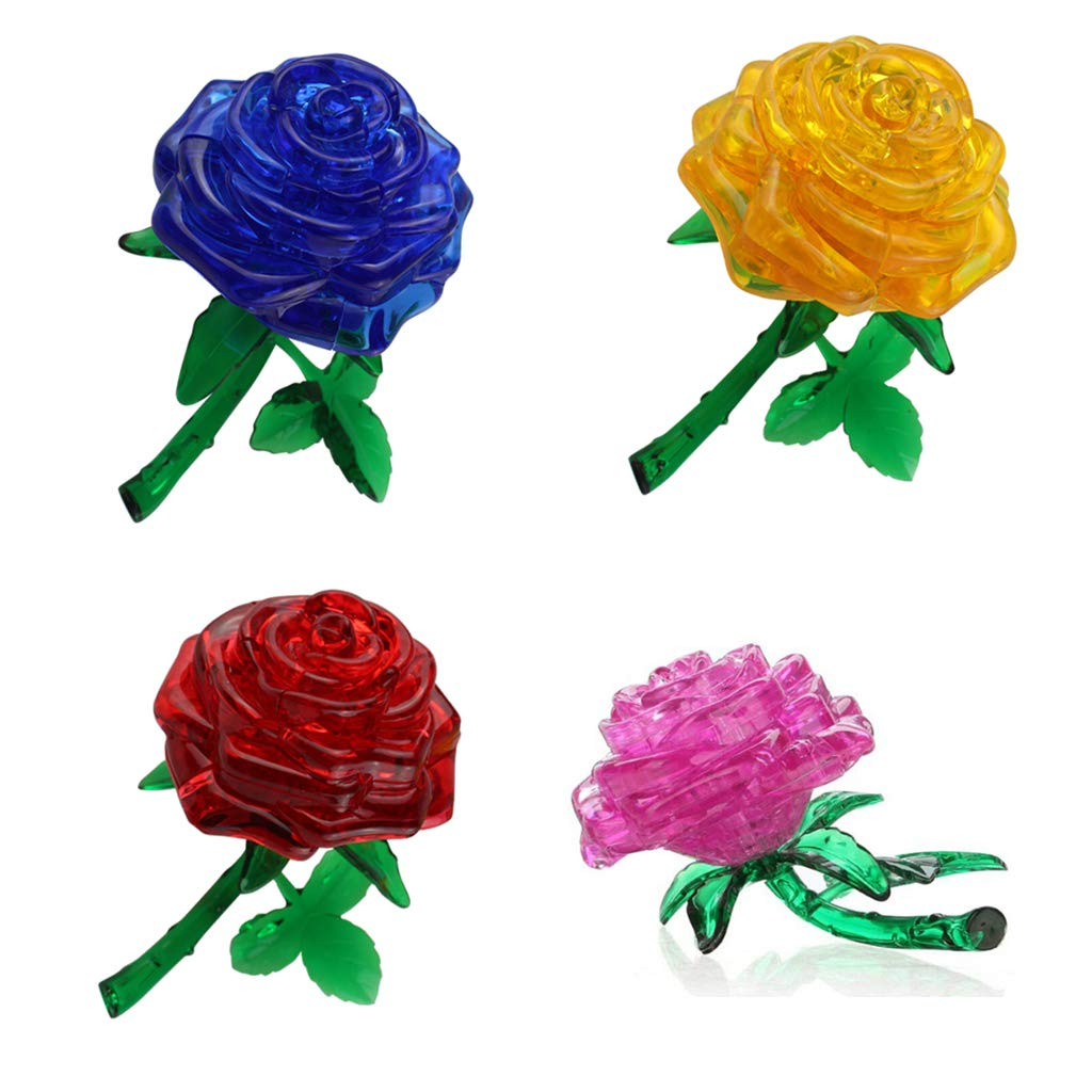Zhenwei 3D Crystal Puzzle Rose Building Model DIY Assembled Educational  Creative Small Furnishings Diamond Puzzles For Kids