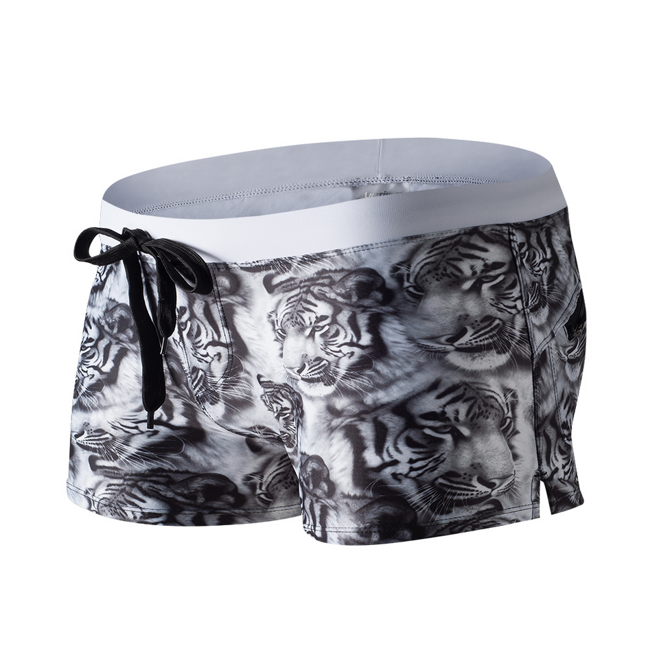 Animal Printing Boxer Short Sexy Swimwear With Tiger Bear Picture Pocket Swimming Pant A ...