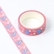 1pc Heart Foil Washi Tape Japanese Paper 1.5cm*5m Kawaii Scrapbooking Tools Masking Tape Xmas Photo Album Diy Decorative Tapes цена