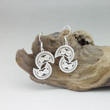 Moon 999 Sterling Silver Dangle Earrings For Women Accessories Drop Earing Handmade Ethnic Miao Silver Luxury Jewelry Fashion
