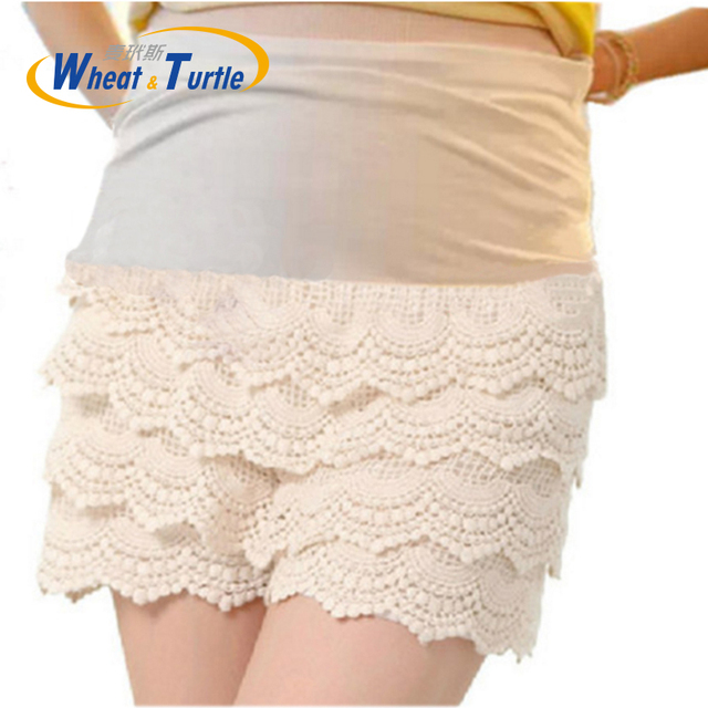2016 New Arrival  Elastic High Waist  Lace Patchwork Maternity Short Pants Lace Ruched Summer Short Hot Pants For Pregnant Women