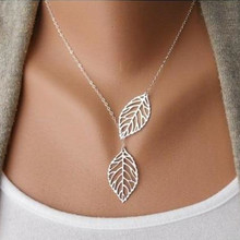 New fashion Jewelry gold / silver color Two Leaf Pendants Necklace Chain multi layered statement necklaces Women Gift
