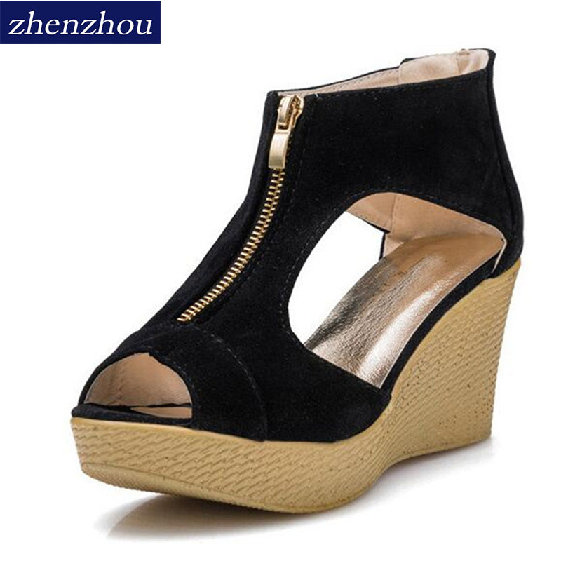 Free shipping HOT Women's shoes sandals 2017 new summer fish mouth wedge high heel platform sponge zip sandals fashion footwear new women sandals low heel wedges summer casual single shoes woman sandal fashion soft sandals free shipping