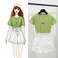 Green Sweatshirt & White Short Suits Women Summer New Students Wear Two Pieces Clothing Set Woman Casual Suits Outfit