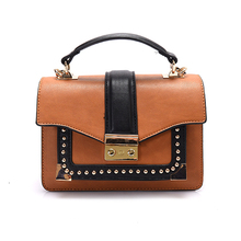 2016 multilayer flap bag fashion rivet women handbag buckle shoulder bag pu leather messenger bags