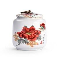 Wzór piwonii herbata do cukru lub kawy słoiki przyprawy pudełko do kuchni biała porcelana pojemnik na herbatę mały zbiornik kuchenny Seal Snack Can