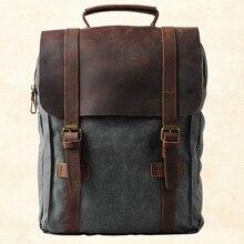Винтажный Модный Рюкзак, кожаный военный холщовый рюкзак, мужской рюкзак, Женский школьный рюкзак, школьная сумка, рюкзак, рюкзак, mochila