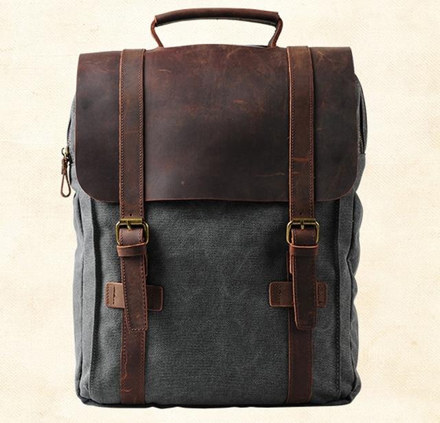 190b5b0b2644 Винтажный Модный Рюкзак кожаный военный холщовый рюкзак мужской рюкзак wo  мужской школьный рюкзак школьная сумка рюкзак